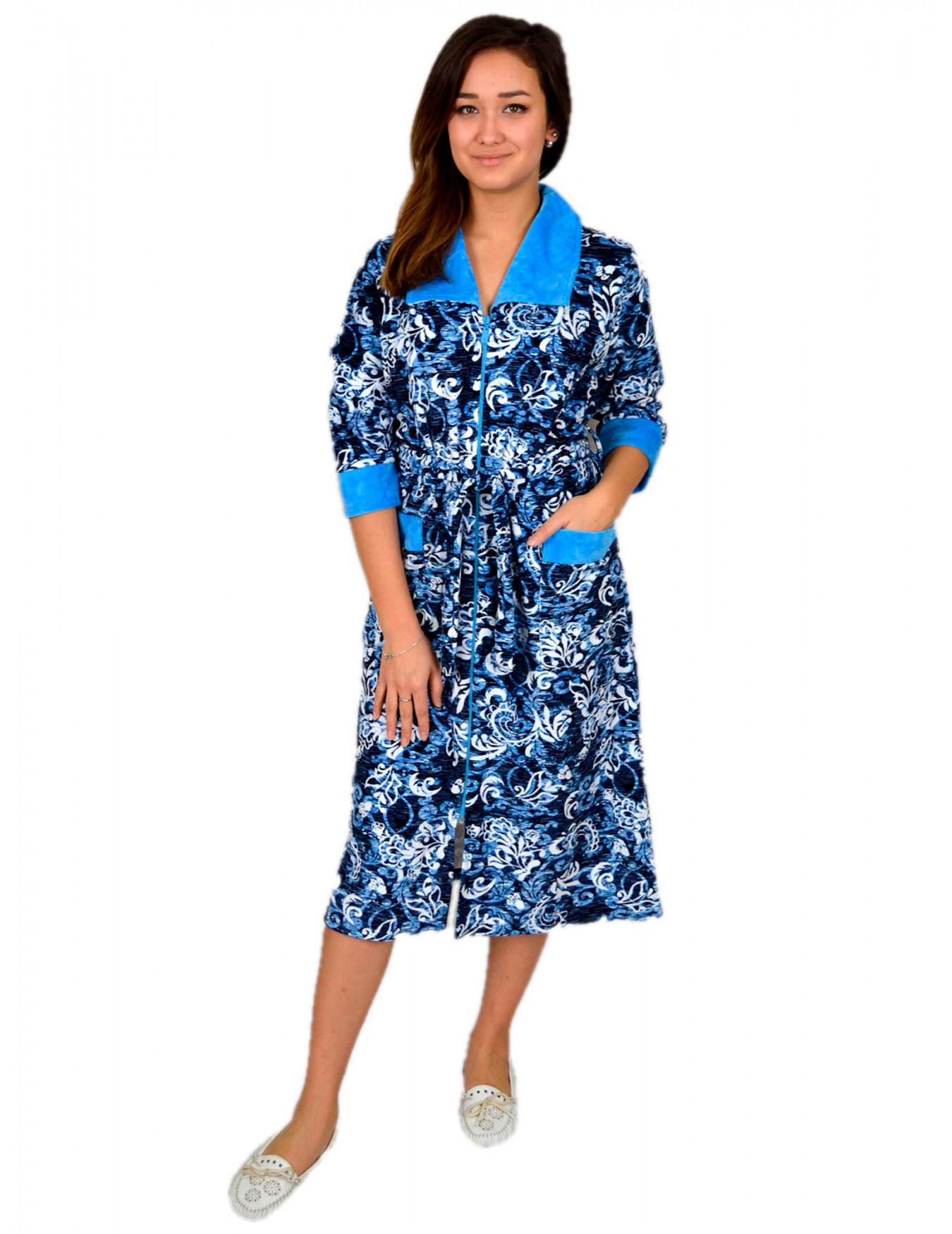 Халат женский М-79ВМ (синий с голубым) р.44-62