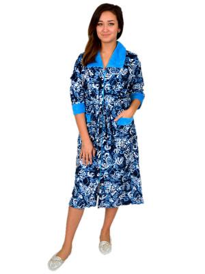 Халат женский М-79ВМ (синий с голубым) р.58-62