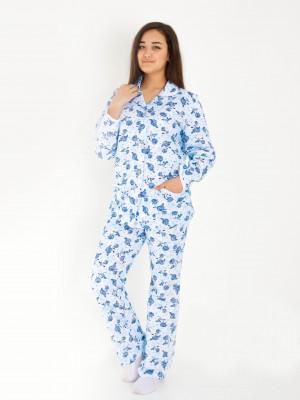 Пижама женская М-185 (белый с голубым) р.46-62