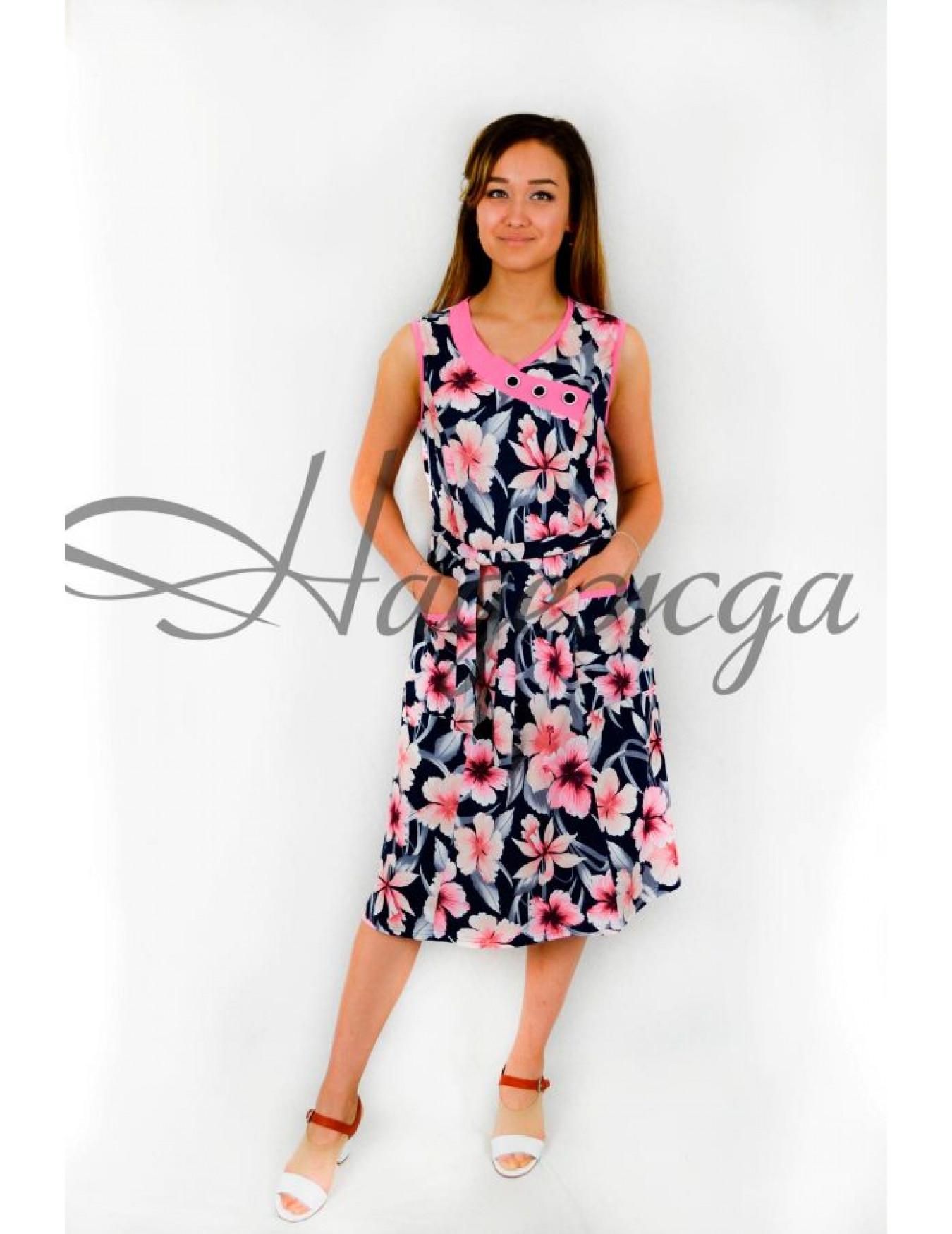 Платье женское М-121 (коралл) р.48-64