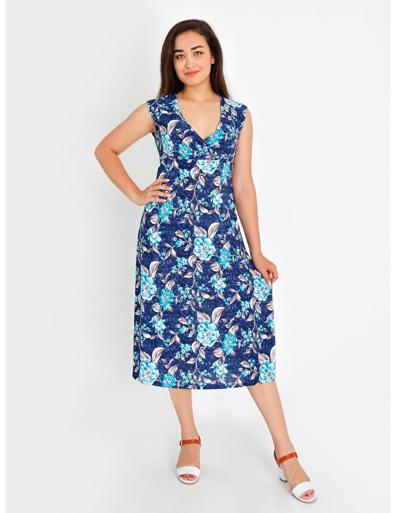Платье женское М-35 (ментол с синим) р.46-62