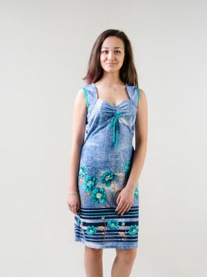 Сарафан женский М-145 (голубой с зеленым) р.44-62